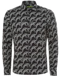 Versace Jeans - Shirt, Extra-slim Fit Black Leaping Tiger Print Shirt - Lyst