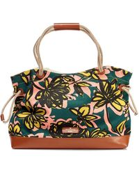 Weekend by Maxmara - Umberta Canvas Tote Green Multi Print Beach Bag - Lyst