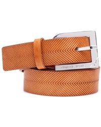 Armani Jeans - Belt, Tan Leather Silver Buckle - Lyst