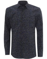 BOSS Navy Blue Isko Slim Fit Abstract Print Shirt