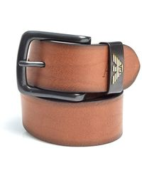 Armani - Cognac Brown Eagle Logo Leather Belt - Lyst