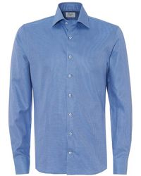 cfbb0922 Stenstroms - Dog Tooth Print Sky Blue Slim Fit Shirt - Lyst