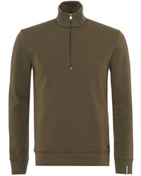 BOSS Black | Slegal Jumper, Half Zip Contrast Lining Olive Green Navy Blue Sweat | Lyst