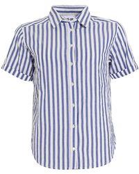 Velvet By Graham & Spencer - Alyss Woven Striped Blue Shirt - Lyst