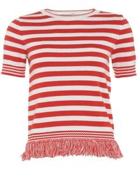 I Blues | Colmo Jumper, Red White Fringe Striped Knitwear | Lyst