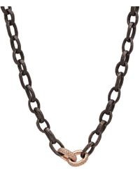 Nancy Newberg - Oxidized Silver Hammered Chain With 14k Double Rose Gold And Diamond Links - Lyst