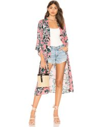 Splendid - Painted Floral Kimono In Rose - Lyst