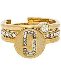 Marc Jacobs - Pave Ring Set In Metallic Gold. - Lyst
