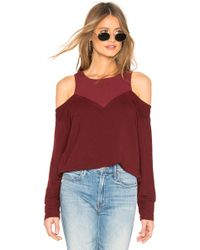 01ad2330b7cb6 Monrow - Cold Shoulder Double Layer Sweatshirt - Lyst