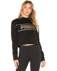 PUMA - Cropped Mock Neck Pullover - Lyst