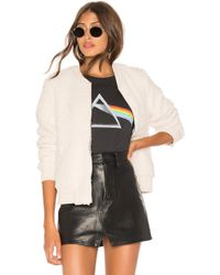 David Lerner - Zip Front Bomber In Ivory - Lyst