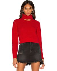 281029a8ba Kendall + Kylie Lace-up Cold Shoulder Sweater in Gray - Lyst
