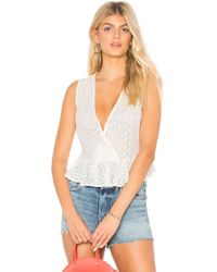 BCBGeneration - Ruffle Hem Eyelet Top In White - Lyst