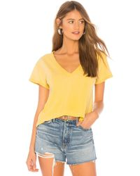 LNA - Sparks V Neck Tee In Yellow - Lyst