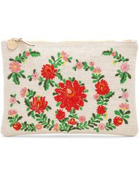 Clare V. - Mexican Embroidered Flat Clutch In White. - Lyst