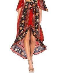 Band Of Gypsies - Bohemian Ruffle Skirt In Rust - Lyst