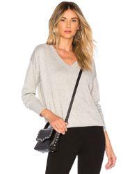 Bobi - Cashmere V Neck Sweater In Gray - Lyst