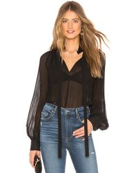 Endless Rose - Front Tie Pleated Blouse In Black - Lyst