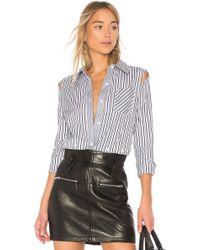 MILLY - Stripe Fractured Button Down Top - Lyst