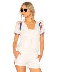 Pam & Gela - Short Sleeve Ruffle Track Jacket In White - Lyst