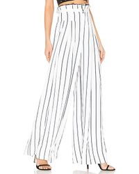 Kendall + Kylie - Pinstripe Wide Leg Pant In White - Lyst
