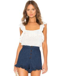 1.STATE - Ruffled Edge Square Neck Ruffle Top - Lyst