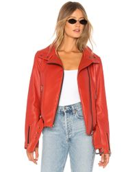 Mackage - Emily Leather Jacket In Red - Lyst