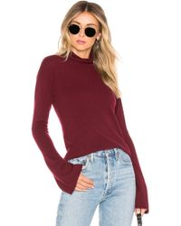 Theory - Bell Sleeve Mockneck Sweater In Burgundy - Lyst