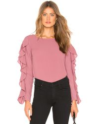 1.STATE - Slit Ruffle Sleeve Blouse In Rose - Lyst