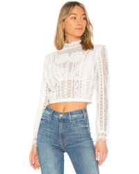For Love & Lemons - Victorian Tulle Blouse In Ivory - Lyst