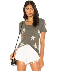 Monrow - Oversized Star Relaxed Crew In Green - Lyst