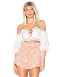 For Love & Lemons - Anabelle Eyelet Crop Top In White - Lyst