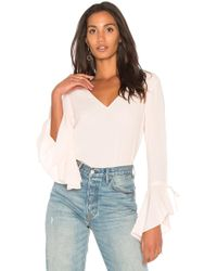 1.STATE - V Neck Cascade Sleeve Top - Lyst
