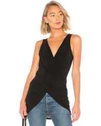 BCBGMAXAZRIA - Sleeveless Wrap Front Tunic Top In Black - Lyst