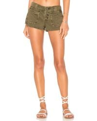 Free People - Cora Button Front Short In Olive - Lyst
