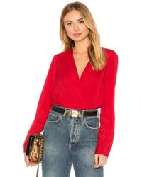 BCBGeneration - Shirt Cuff Surplice Top In Chili Pepper - Lyst