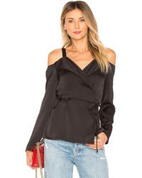 Krisa - Off Shoulder Wrap Long Sleeve Top In Black - Lyst