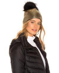 Jocelyn - Fox Fur Pom Beanie In Metallic Gold. - Lyst