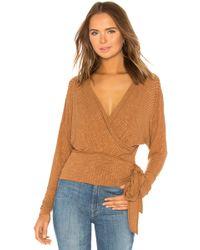 Free People - East Coast Wrap Sweater In Brown - Lyst
