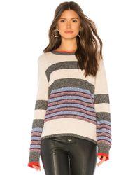 White + Warren - Jacquard Striped Crewneck Sweater In Beige - Lyst