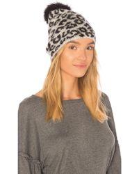 Jocelyn - Knit Hat With Fox Pom In Grey. - Lyst
