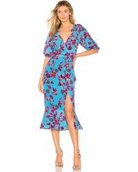Saloni - Olivia Floral Printed Silk Crepe Dress - Lyst