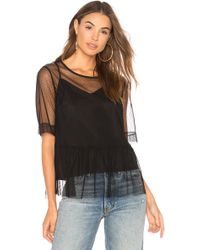 BCBGeneration - Mesh Boyfriend Sleeve Top In Black - Lyst