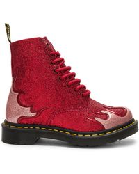 Dr. Martens - 1460 Pascal Red Glitter Flame Flat Ankle Boots - Lyst