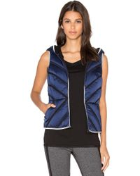 Blanc and Noir - Mesh Inset Satin Puffer Vest - Lyst