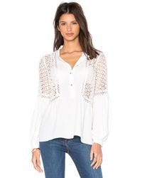 Twelfth Street Cynthia Vincent - Mixed Fabric Peasant Top - Lyst