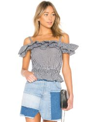 Kendall + Kylie - Ruffle Dixie Top In Black & White - Lyst