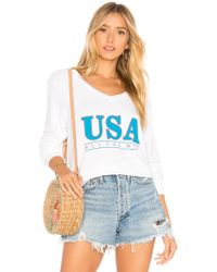 Wildfox - All The Way Baggy Beach V Sweater - Lyst
