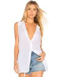 BCBGeneration - Back Lace Up Button Down Tank In White - Lyst