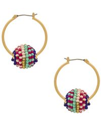 Rebecca Minkoff - Blair Beaded Ball Hoop Earrings - Lyst